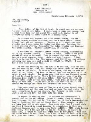 1923/05/06: John McDorman to Joy Morton
