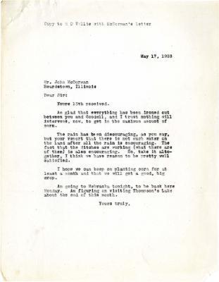 1923/05/17: Joy Morton [?] to John McDorman