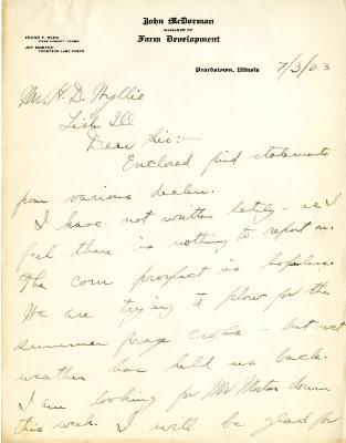 1923/07/03: John McDorman to H. D. Wyllie