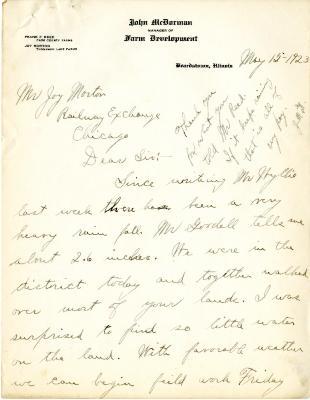 1923/05/15: John McDorman to Joy Morton