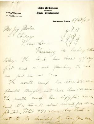 1923/05/24: John McDorman to Joy Morton