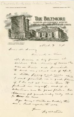1924/03/03: Joy Morton to Mr. D [?]