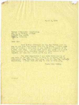 1935/03/02: Clarence E. Godshalk to A. L. Morley