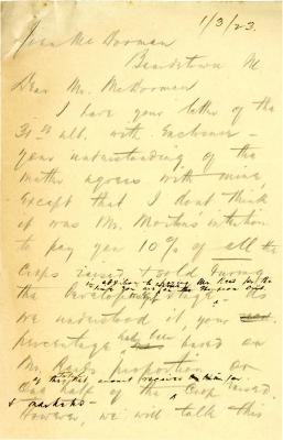 1923/01/03: H. D. Wyllie to John McDorman 1922/12/31: John McDorman to H. D. Wyllie 1922/12/30: John McDorman to H. D. Wylliw