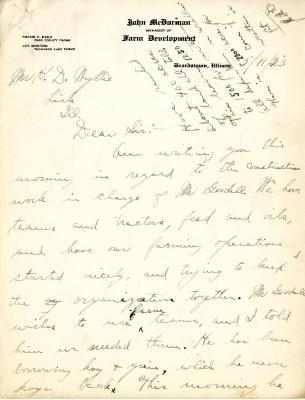 1923/05/11: John McDorman to H. D. Wyllie