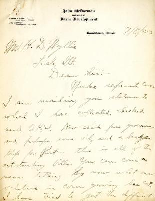 1923/07/08: John McDorman to H. D. Wyllie