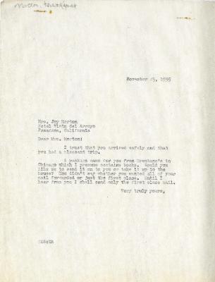 1935/11/25: Clarence Godshalk to Mrs. Joy Morton