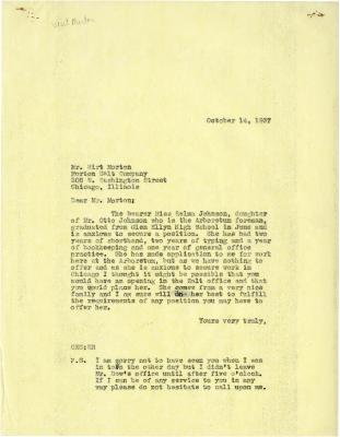 1937/10/14: Clarence Godshalk to Wirt Morton