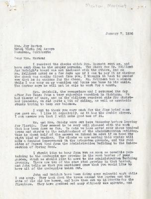 1936/01/07: C.E. Godshalk to Mrs. Joy (Margaret) Morton