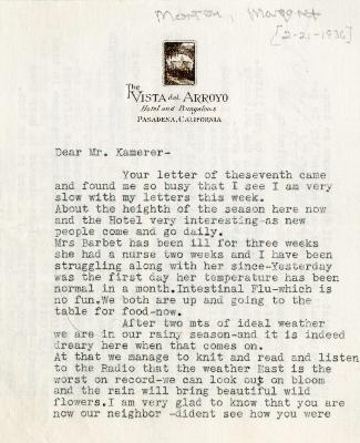 1936/02/21: Margaret Morton to E. Lowell Kammerer