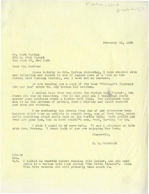 1964/02/11: Clarence Godshalk to Wirt Morton