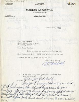 1935/12/02: Clarence Godshalk to Mrs. Joy Morton