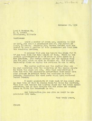 1936/11/20: Clarence Godshalk to Lord & Burnham Co.
