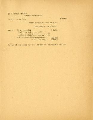 1934/09/15: Statement of Maintenance of Burial Plot
