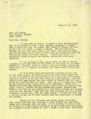 1937/11/11: C. E. Godshalk to Mrs. Joy (Margaret) Morton