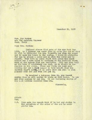 1937/12/21: Clarence Godshalk to Mrs. Joy Morton