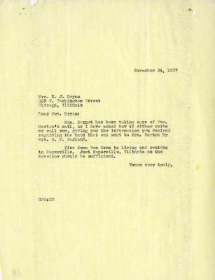 1937/11/24: C. E. Godshalk to Mrs. N. J. Bryan