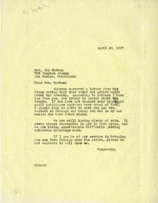 1937/04/26: C. E. Godshalk to Mrs. Joy (Margaret) Morton