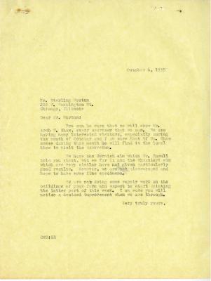 1935/10/06: C. E. Godshalk to Sterling Morton