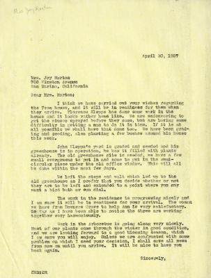 1937/04/20: C. E. Godshalk to Mrs. Joy (Margaret) Morton