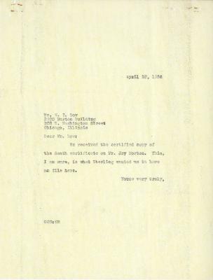 1936/04/29: C. E. Godshalk to W. Y. Dow