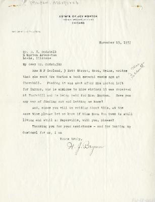 1937/11/19: N. J. Bryan to C. E. Godshalk