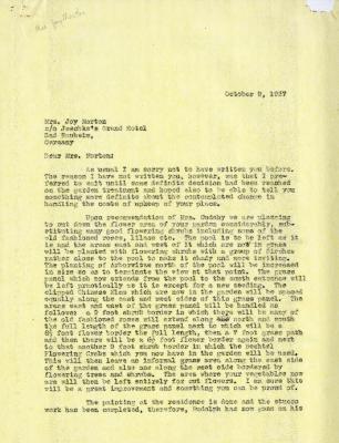 1937/10/09: C. E. Godshalk to Mrs. Joy (Margaret) Morton