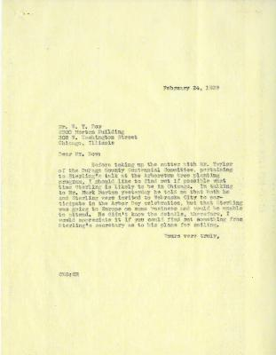1939/02/24: Clarence Godshalk to W. Y. Dow
