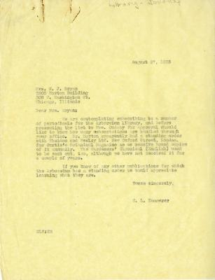 1935/08/27: E. L. Kammerer to Mrs. N. J. Bryan