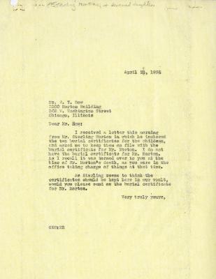 1936/04/23: C. E. Godshalk to W. Y. Dow