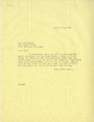 1935/10/06: C. E. Godshalk to Art Hensel