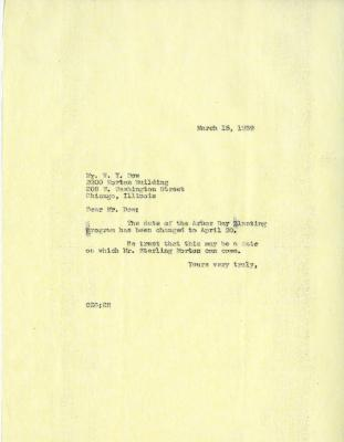 1939/03/15: Clarence Godshalk to W. Y. Dow