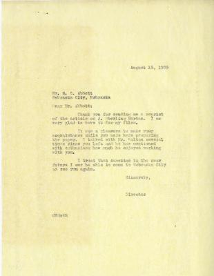 1939/08/15: Clarence E. Godshalk to N. C. Abbott