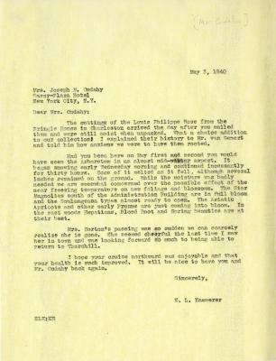 1940/05/03: E. L. Kammerer to Jean M. Cudahy