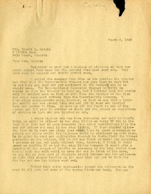 1946/03/06: C. E. Godshalk to Jean Cudahy