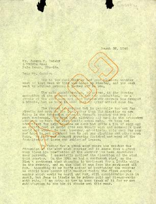 1946/03/26: C. E. Godshalk to Jean Cudahy