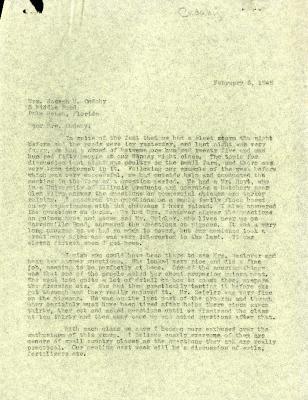 1946/02/05: C. E. Godshalk to Jean Cudahy