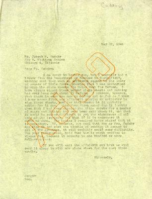 1946/05/23: C. E. Godshalk to Joseph Cudahy
