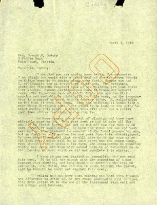 1946/04/01: C. E. Godshalk to Jean Cudahy
