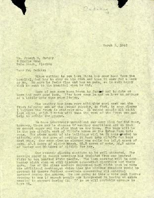 1946/03/05: C. E. Godshalk to Jean Cudahy