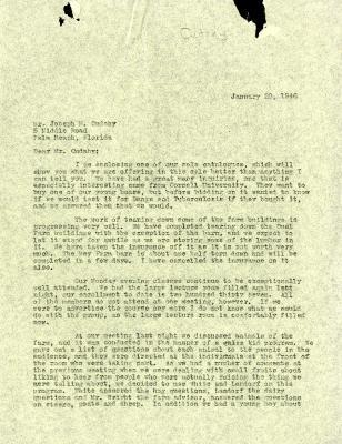 1946/01/29: C. E. Godshalk to Jean Cudahy
