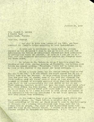 1946/01/22: Clarence Godshalk to Jean Cudahy