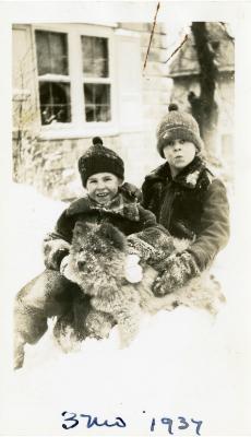 Morton & Jean Lattner with dog, Ming at 3 Months Old