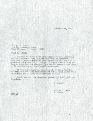 1981/10/22: Marion T. Hall to Dr. T. B. Honig