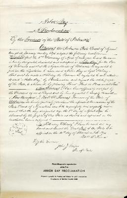 Arbor Day: A Proclamation by the Governor of the State of Nebraska