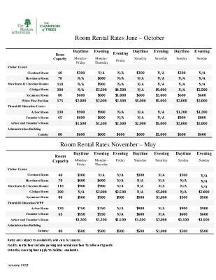 2019-2020 Room Rental Rates
