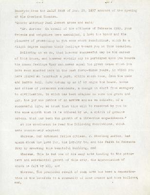 1897/12/20: Excerpt from the Daily News on the Opening of the Overland Theatre