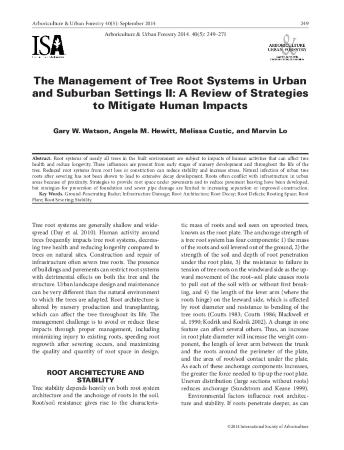 The management of tree root systems in urban and suburban settings II: A review of strategies to mitigate human impacts