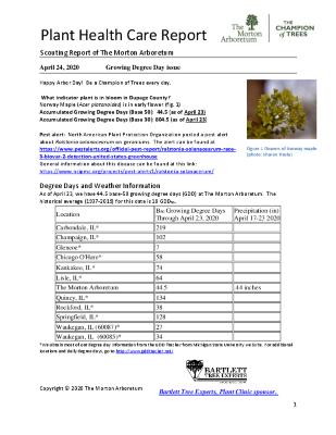 Plant Health Care Report: 2020, April 24 Growing Degree Day Issue
