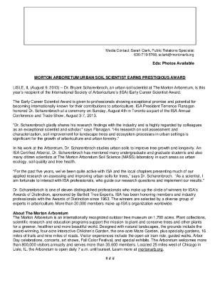 Scharenbroch International Society of Arboriculture Award Press Release